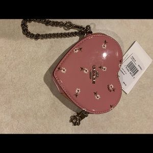Coach pink daisy heart coin purse